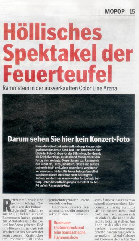 """Hamburger Morgenpost druckt schwarzes """"Konzertfoto"""""""